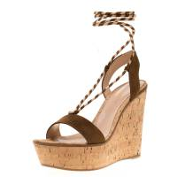 Gianvito Rossi Brown Suede Ankle Wrap Cork Wedge Sandals Size 38.5 185607