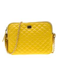 Dolce & Gabbana Yellow Quilted Leather Crossbody Bag