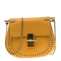 Chloe Mustard Leather Medium Drew Shoulder Bag