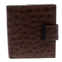 Gucci Brown Ostrich Compact Wallet