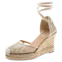 Valentino Beige Lace And Canvas Espadrille Wedges Sandals Size 39
