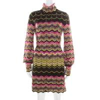 M Missoni Multicolor Chevron Pattered Perforated Knit Cutout Back Detail Dress M