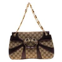Gucci Beige/Purple Canvas and Leather Jeweled Dragon Chain Clutch