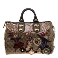 Gucci Brown GG Crystal Coated Canvas Babouska Fable Boston Bag