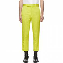 Haider Ackermann Yellow Linen Skinny Leg Trousers 192542M19100203GB