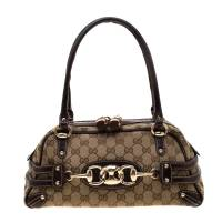 Gucci Beige/Ebony GG Canvas Wave Boston Bag