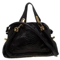 Chloe Black Python and Leather Medium Paraty Shoulder Bag