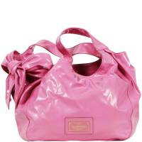 Valentino Pink Leather Bow Detail Slouchy Tote Bag