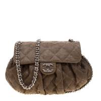 Chanel Olive Green Quilted Leather Chain Around Shoulder Bag