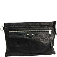 Balenciaga Black Leather Classic Clip M Clutch 188486