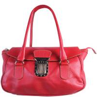 Dolce & Gabbana Red Leather With Buckle Claps Shoulder Bag