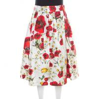 Dolce & Gabbana White and Red Floral Printed Cotton and Silk Pleated Skirt M