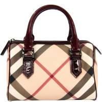 Burberry Bordeaux Nova Check PVC and Leather Bowling Bag