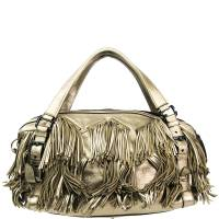 Burberry Metallic Beige Leather Fringe Shoulder Bag