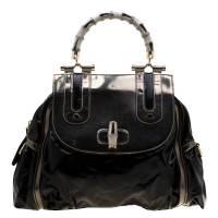 Gucci Black/Metallic Beige Coated Nylon and Leather Dialux Pop Bamboo Top Handle Bag