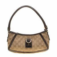 Gucci Beige/Metallic Grey GG Canvas Small Abbey Shoulder Bag