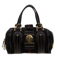 Gucci Black GG Canvas and Leather Medium Aviatrix Boston Bag