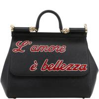 Dolce & Gabbana Black Leather L'amore e' Bellezza Miss Sicily Bag
