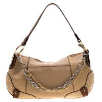 Dolce & Gabbana Beige/Brown Leather Chain Shoulder Bag