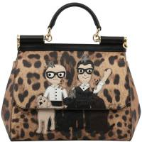 Dolce and Gabbana Black/Brown Leopard Print Textured Leather Designers' Patches Miss Sicily Bag