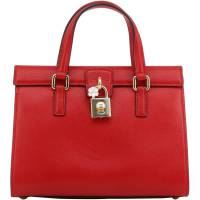 Dolce and Gabbana Red Leather Dolce Lady Satchel Bag