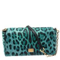 Dolce&Gabbana Green/Black Leopard Print Canvas and Leather Flap Shoulder Bag Dolce & Gabbana
