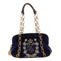 Dolce & Gabbana Royal Blue Embroidered Velvet Frame Shoulder Bag Dolce & Gabbana