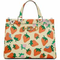 Gucci Off-White Medium Zumi Strawberry Top Handle Bag