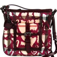 Burberry Bordeaux Nova Check PVC and Leather Heart Crossbody Bag