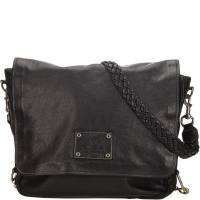 Gucci Black Leather Crest Chain Messenger Bag