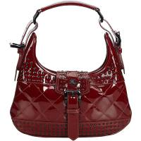 Burberry Red Studded Patent Leather Everyday Bag