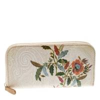 Etro Beige/Multicolor Paisley Printed Coated Canvas Zip Around Wallet