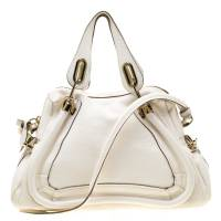 Chloe White Leather Medium Paraty Shoulder Bag