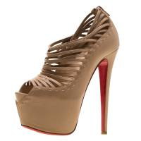 Christian Louboutin Beige Leather Zoulou Platform Peep Toe Cage Sandals Size 36.5