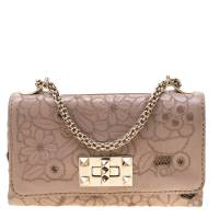 Valentino Nude Pink Leather and Lace Girello Shoulder Bag