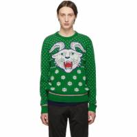 Gucci Green Wool Jacquard Sweater