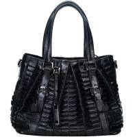Burberry Black Pleated Leather Tote Bag