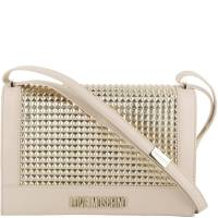 Love Moschino White/Gold Faux Leather Shoulder Bag
