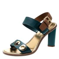 Louis Vuitton Green And Brown Leather Lounger Ankle Strap Open Toe Sandals Size 39 197400