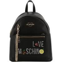 Love Moschino Black Faux Leather Chain Backpack Bag 196156