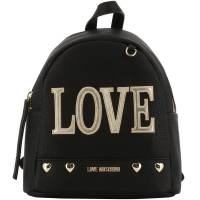 Love Moschino Black Faux Leather Love Applique Backpack 196172