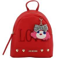 Love Moschino Red Faux Leather Love Applique Backpack 196170