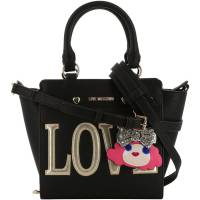 Love Moschino Black Faux Leather Love Applique Top Handle Bag