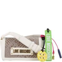 Love Moschino Two Tone Signature Canvas and Faux Leather Crossbody Bag