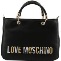 Love Moschino Black Faux Leather Applique Top Handle Bag