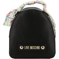 Love Moschino Black Faux Leather Scarf Backpack 196195