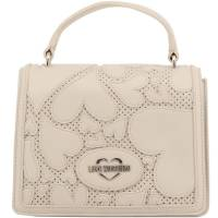 Love Moschino Beige Faux Cut-Out Perforated Leather Top Handle Bag