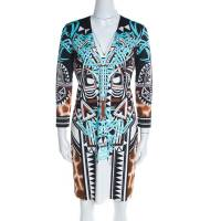 Just Cavalli Multicolor Printed Jersey Plunge Neck Long Sleeve Dress M