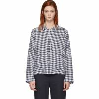 Mansur Gavriel Blue Gingham Worker Shirt 192662F10900102GB