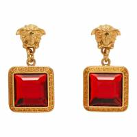 Versace Gold and Red Square Crystal Medusa Earrings 192404F02201901GB